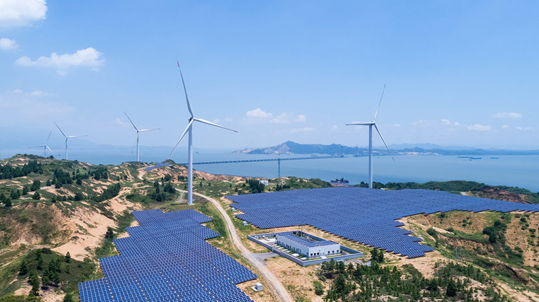 clean energy power plant on a lake with wind turbines and solar panels (refer to: Energy, climate and the environment)