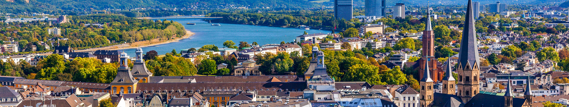 View of the city of Bonn on the Rhine